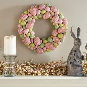 "15"" Woven Plaid Decorative Egg Wreath"